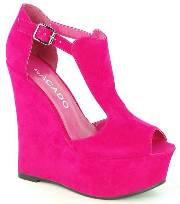 shoes pink wedges high heels heels