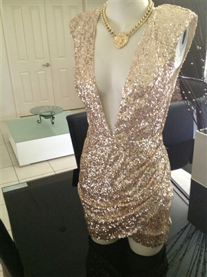 """GOLD SEQUIN """"GLAMOUR  NIGHTS"""" dress"""