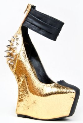 Amazon.com: Privileged LUCIANNA Edgy Studded Spike Curved Heel Less Platform Wedge Ankle Strap Neon Pump: Shoes