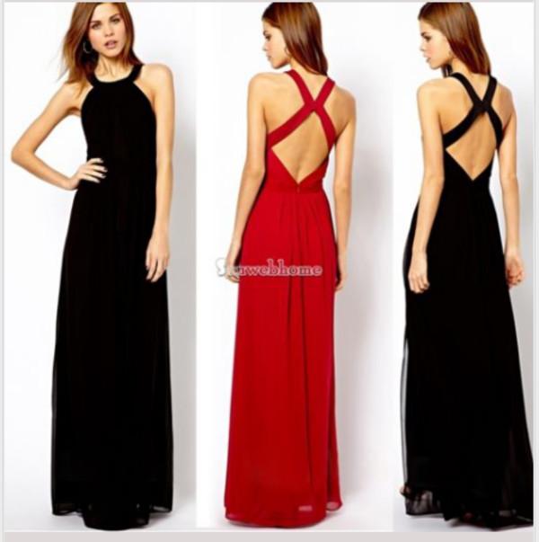 dress red dress black dress backless maxi dress long dress elegant chiffon