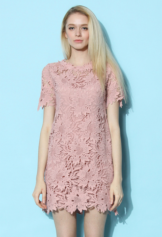 dress chicwish lace crochet shift rouge pink summer dress spring dress chicwish.com