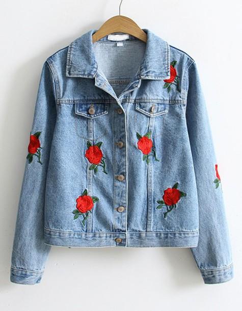 jacket denim jacket denim floral