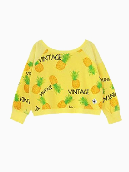 Vintage Yellow Crop Top With Pineapple Print | Choies