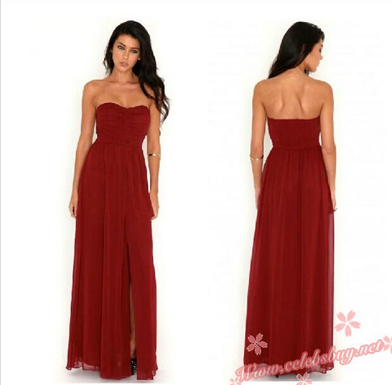 Celebrity prom dress: 2014 Red strapless prom dress $58 each at Celebsbuy.net