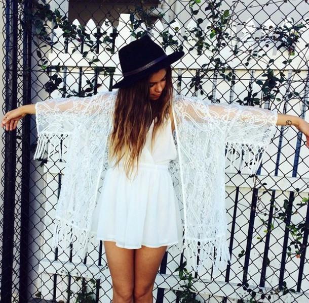 dress white hat brunette chiffon lace dress lace fringes see through white dress short dress girly angel tan cardigan