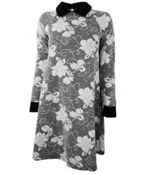 dress black and white dress floral dress white flowers cuffs collared dress collar floaty floaty dress