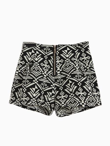 Geometric Totem Print Zip Shorts In Black   Choies