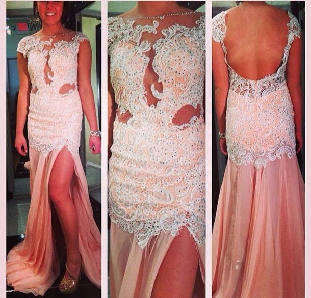 dress pink dress lace dress prom dress