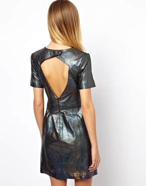 ASOS | ASOS Snake Holographic Leather Cut Out Mini Dress at ASOS