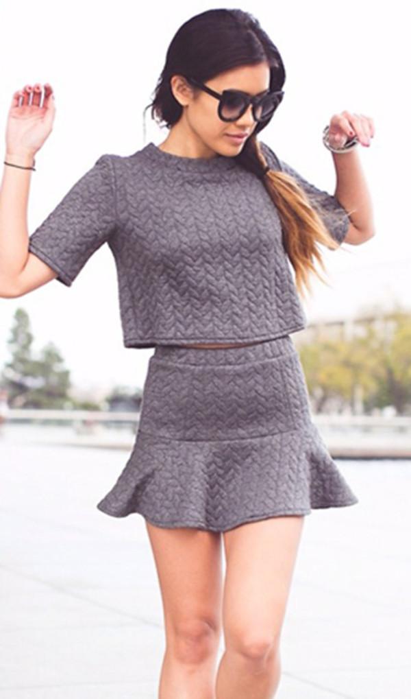 skirt setup suit clothes grey shirt