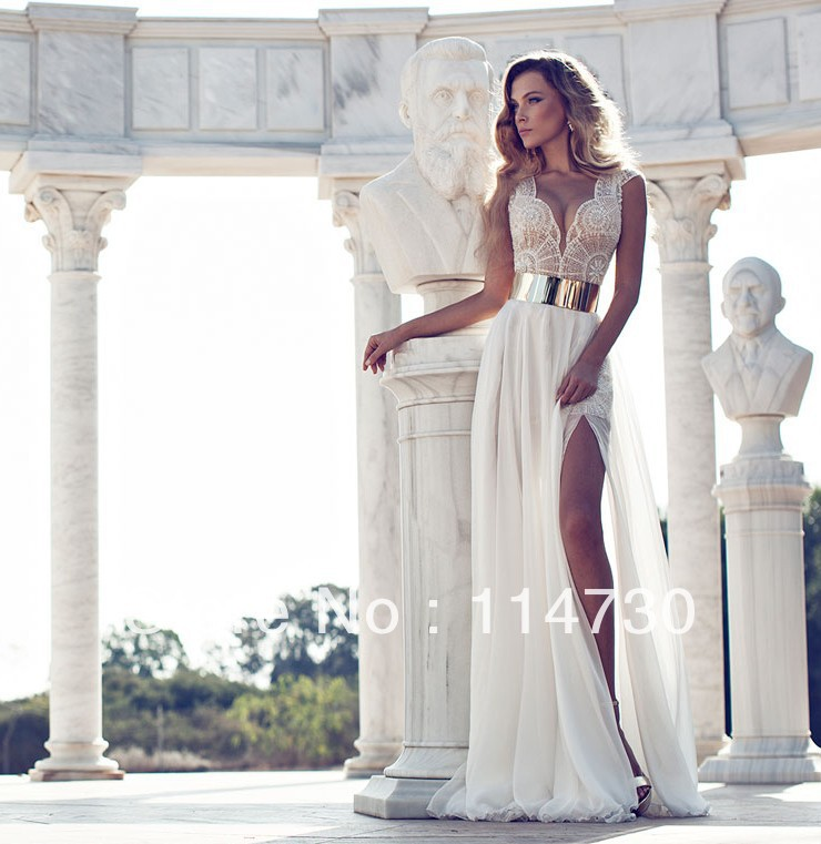 2014 Deep V Neck Embroidery Beaded Gold Metal Belt Chiffon Julie Wedding Dresses Designer Special Occasion Dress Multi Color-in Wedding Dresses from Apparel & Accessories on Aliexpress.com