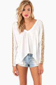 Sequined Stripes Sweater - Tobi
