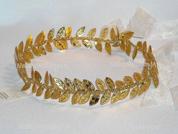 Grecian Headband Gold Leaf Wedding Crown Halo by NatalysWeddingArt