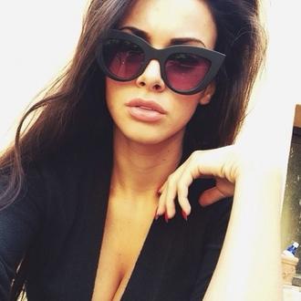sunglasses brunette long hair eyebrows nails black vintage lips edgy cat sunglasses cats black sunglasses retro sunglasses thats chic elegant matte black cat eye tumblr black cat eye sunglasses cat ears sunglasses