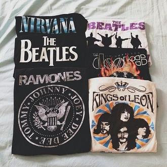 t-shirt band t-shirt the beatles nirvana ramones kings of leon the doors