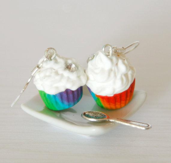 Rainbow cupcake earrings kawaii made of Polymer clay by Zoozim