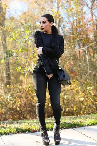 blouse sweater boots high heels open toe high heels jeans top black long sleeves texture sleeve shoes all black everything h&m navy style motor motostyle pullover pull shirt biker