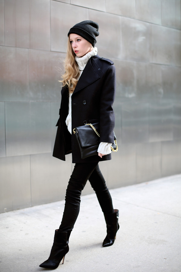 coat hat sweater jeans bag shoes