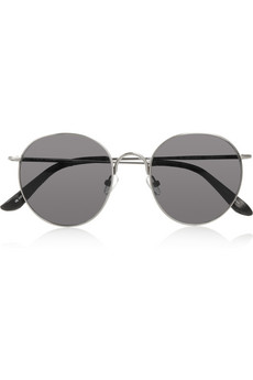 The Row Round-frame leather-tipped metal sunglasses - 46% Off Now at THE OUTNET