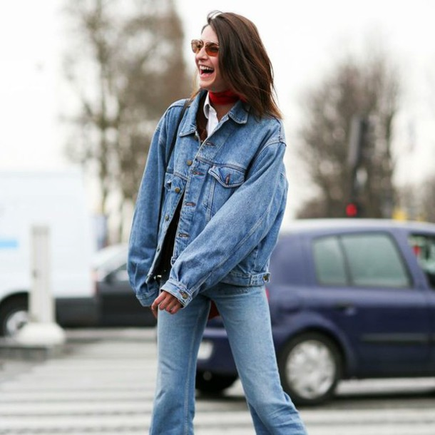 Image result for oversized denim jacket street style