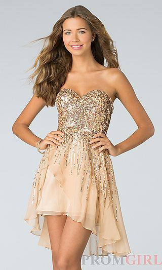 Sherri Hill Short Strapless Sequin Dresses- PromGirl