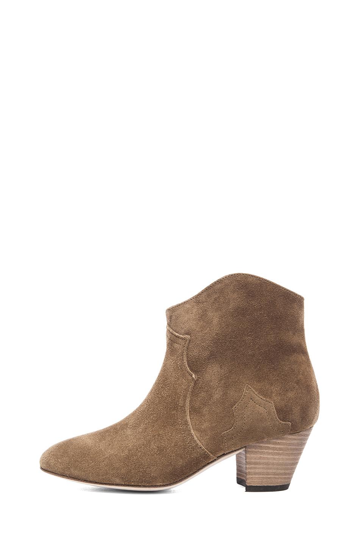 Isabel Marant|Dicker Calfskin Velvet Booties in Brown
