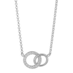 Collier argent rhodie 2 cercles entremeles pierres blanches 40 2cm