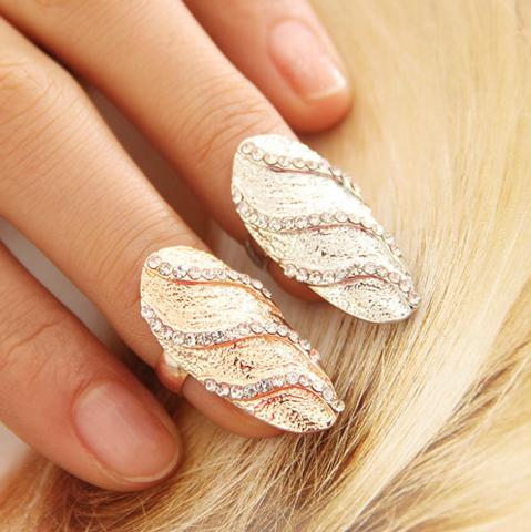 Raw Glitter   Women's Jewelry Rhinestone Finger Ring - Gold   RawGlitter.com