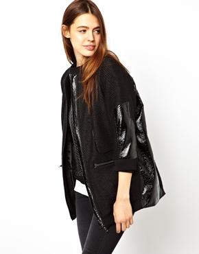 ASOS | ASOS Jacket In Oil Slick Texture With PU Trims at ASOS