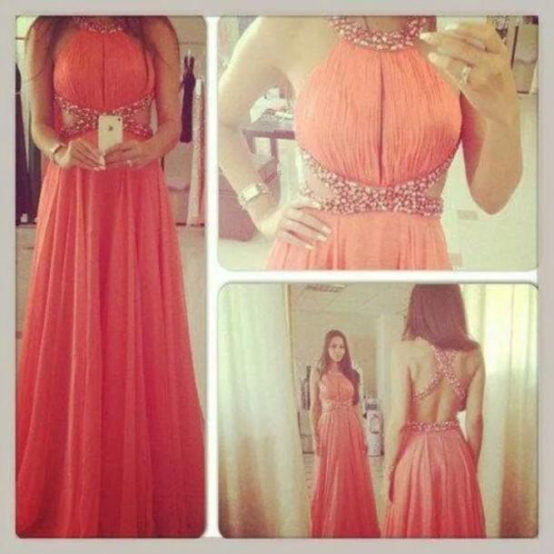 dress dress coral pink red formal