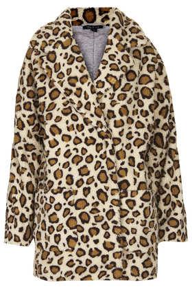 Leopard Borg Ovoid Coat - Jackets & Coats - Sale  - Sale & Offers - Topshop