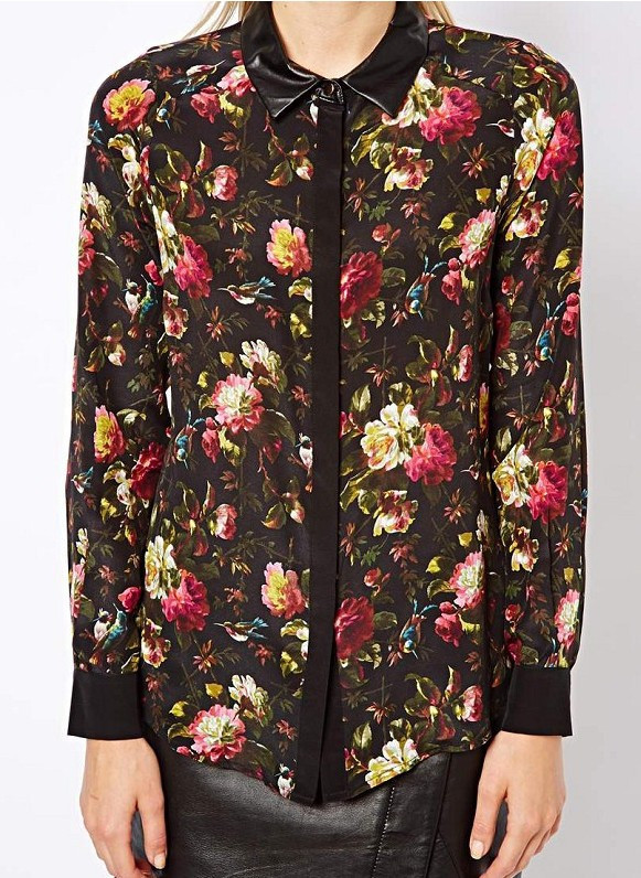 2013 Autumn Winter New Fashion Women Rose Print Long Sleeve Retro Flowers Shirt PU Leather Collar Black Blouse Stylish Top-in Leather Clothing from Apparel & Accessories on Aliexpress.com