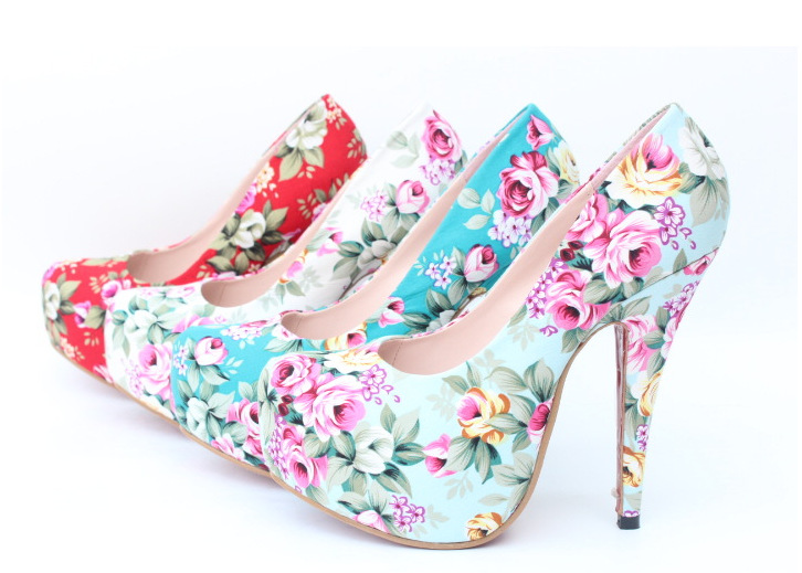 PF029 women 2013  floral print fashion high heeled plus size shoes female big size thin heels platform banquet shoes vintage-in Pumps from Shoes on Aliexpress.com