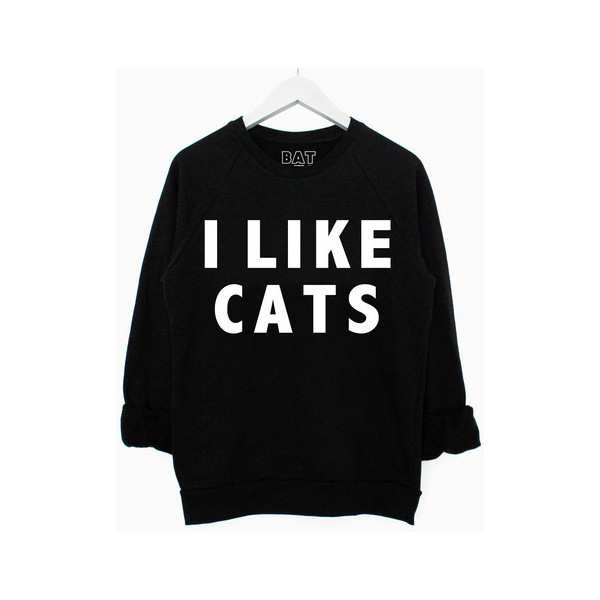 I Like Cats Sweater Black - Polyvore