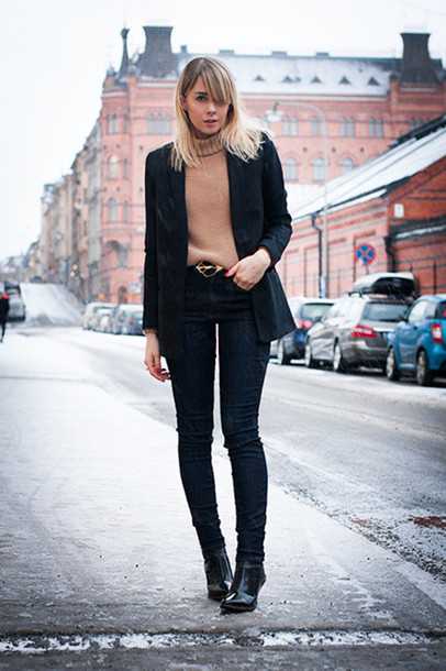 chaloth blogger jacket sweater belt jeans shoes
