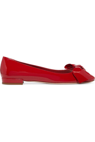bow ballet embellished flats ballet flats leather red shoes