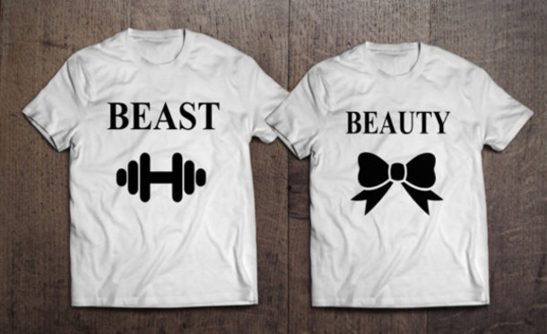 T Shirt Beauty And The Beast Beauty Fashion Shopping Beauty And The Beast Matching Couple Shirts Beast Be Together Couples Shirts Couple Present Summer Wheretoget
