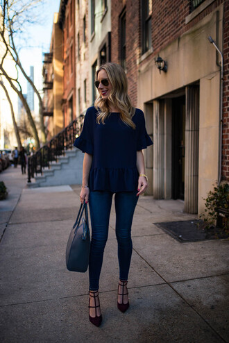katie's bliss - a personal style blog based in nyc blogger t-shirt sweater top blouse shirt shorts skinny jeans handbag pumps high heel pumps