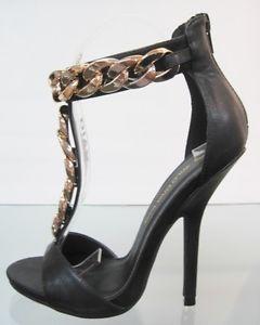 Women Open Toe Faux Leather Stiletto Heel Chain T Strap Ankle Strap Pumps Shoes | eBay