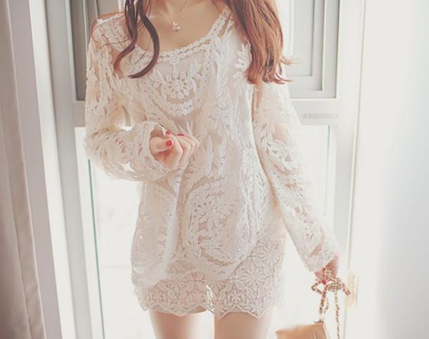 dress short dress lace dress long sleeve dress white dress
