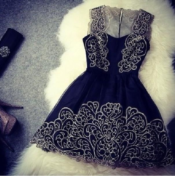 dress black blue dress prom dress short women girl silver