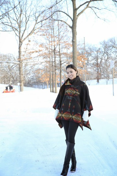 wearing fashion fluently blogger poncho knee high boots coat shoes
