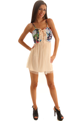 Cream Blue Sweet Girly Floral Corset Party Dress