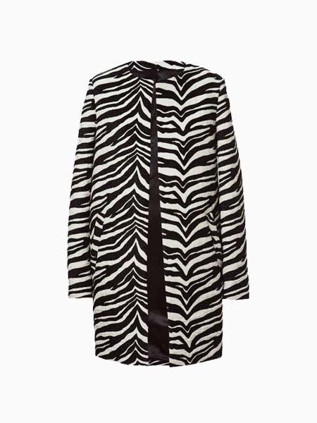 Zebra-Stripe Jacket In Longline | Choies