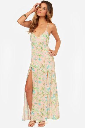 Lovely Floral Print Dress - Maxi Dress - Light Pink Dress - $39.00
