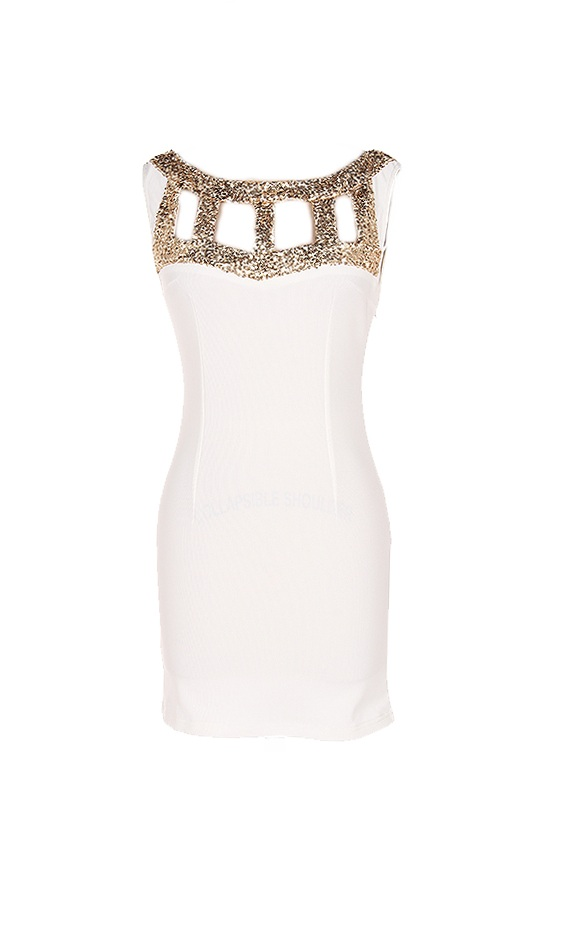 White Sequin Dress - Cut Out Sequin Dress | UsTrendy