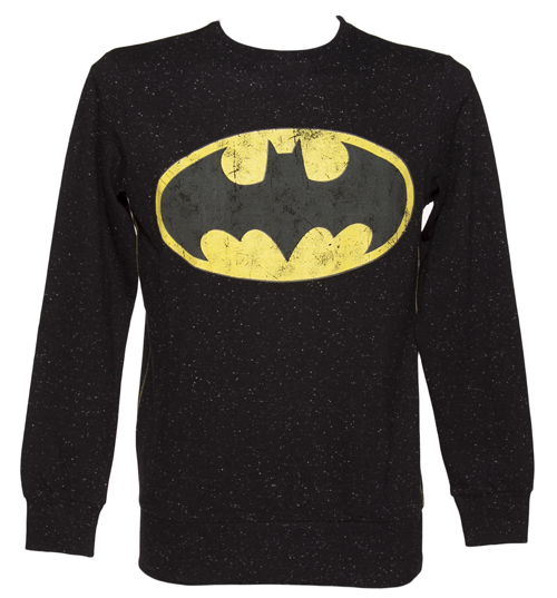 Men's Black Speckled Classic Logo Batman Sweater From Fabric Flavours : TruffleShuffle.com