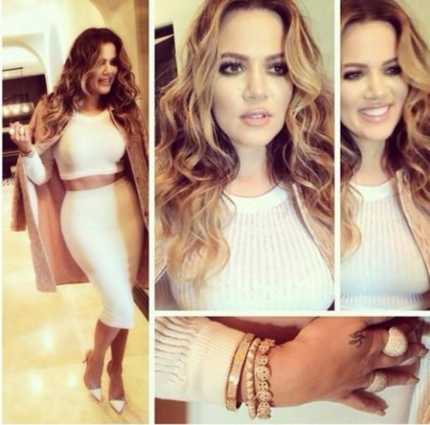 kardashians pencil skirt cropped sweater khloe kardashian white skirt two-piece