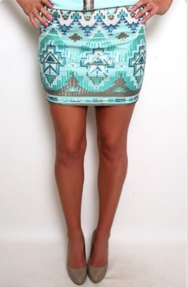 skirt aztec blue skirt