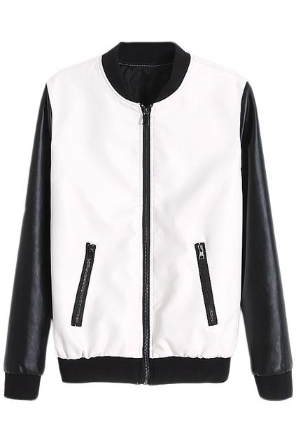 ROMWE   Color Block Zippered Elastic Black-white Jacket, The Latest Street Fashion